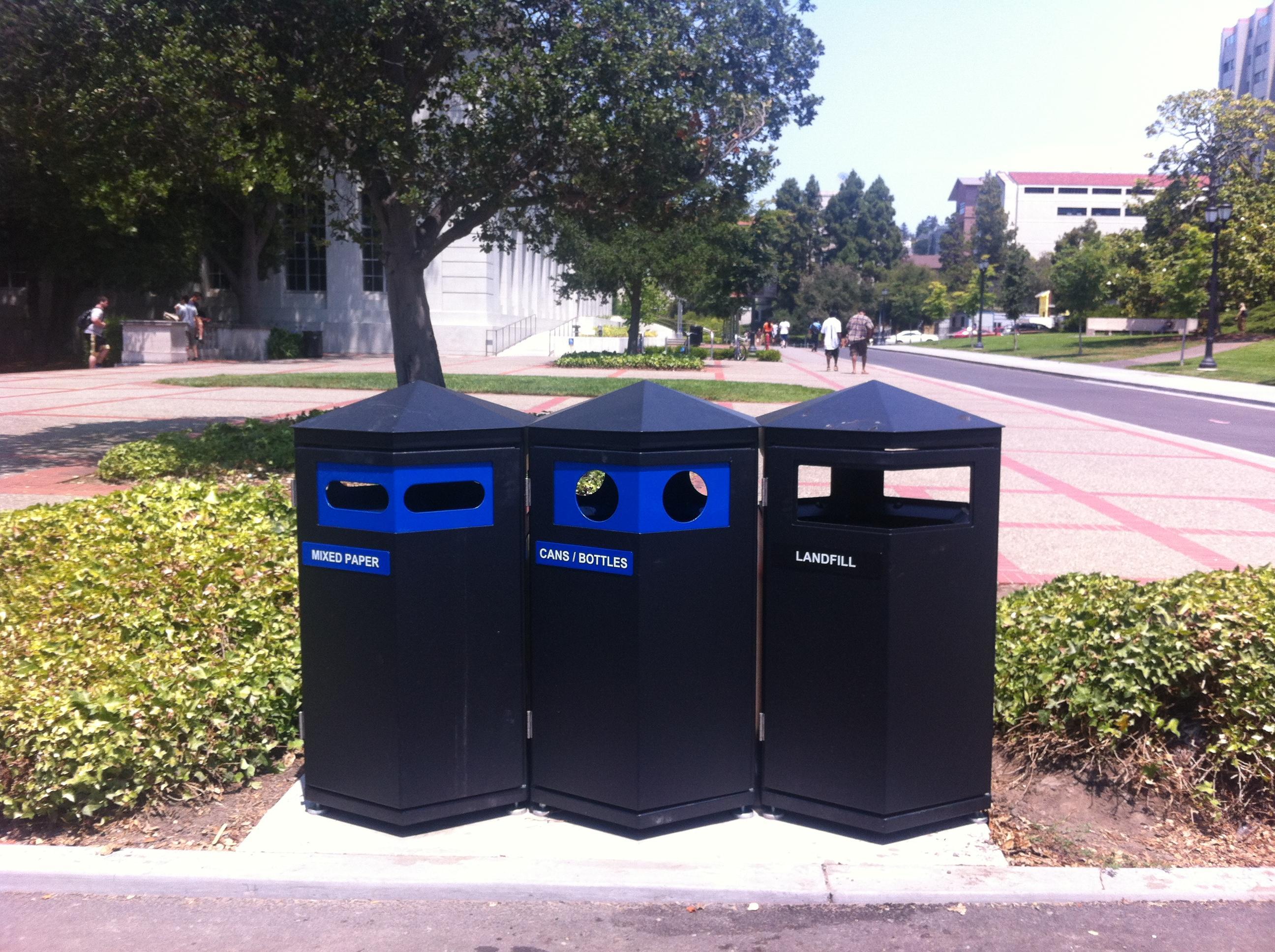 3 trash bins