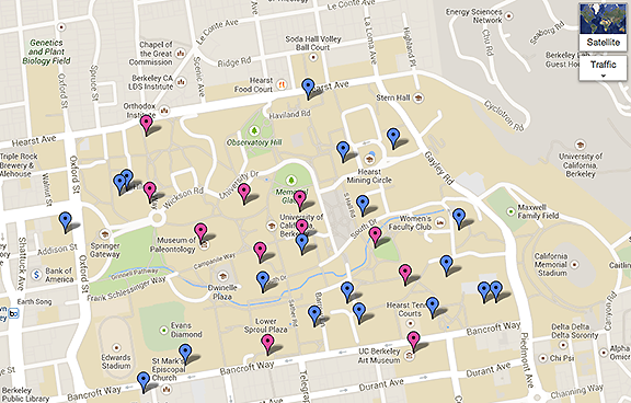 UC Berkeley campus water bottle filling stations map