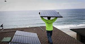 solar panels at the beach