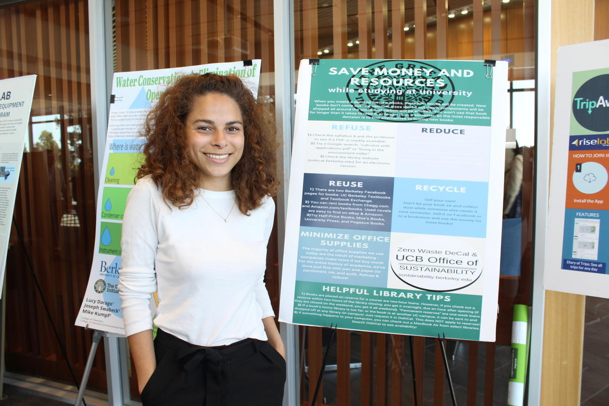 Sage with poster at 2018 Sustainability Summit