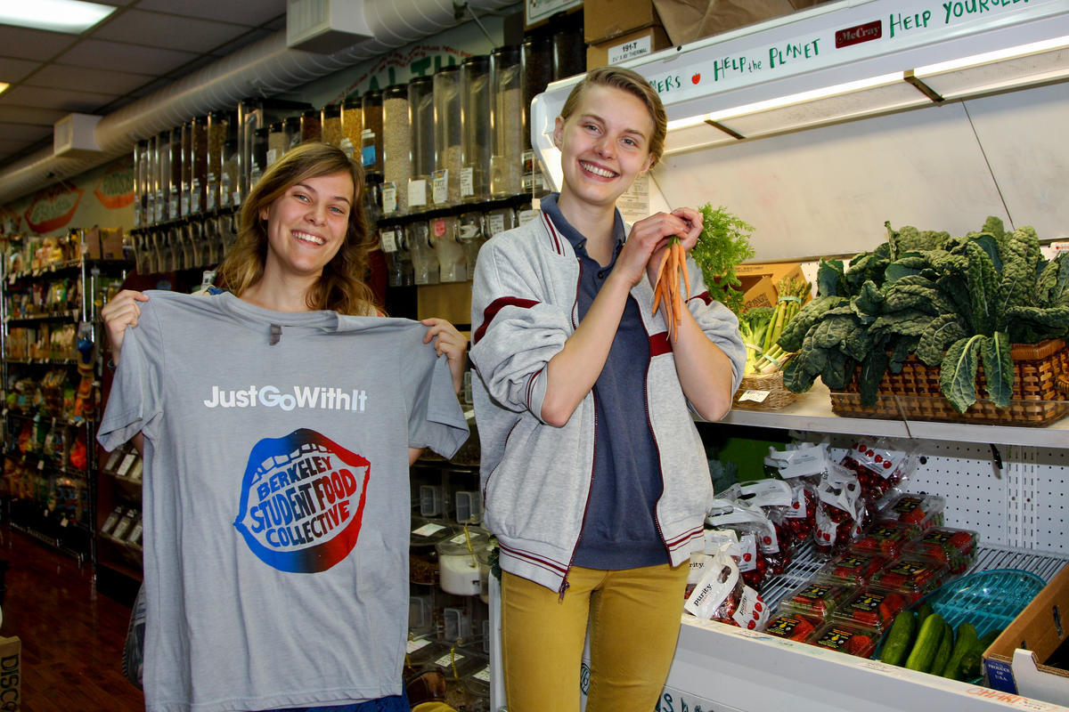 students smiling in the UC Berkeley student food coop