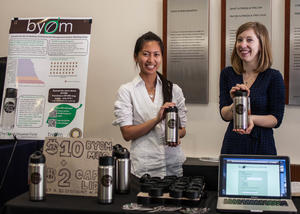 students sell reusable alternatives to disposable cups and bottles