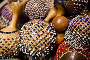 percussion instruments covered with beads