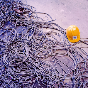 wires with hard hat