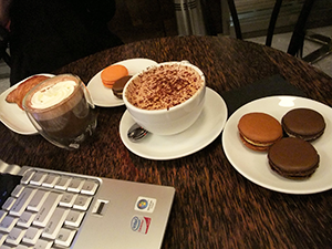 coffee and pastries at a meeting