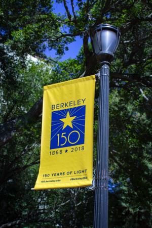 "photo of banner reading, ""Berkeley 150 years"""