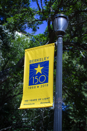 "photo of banner reading, ""Berkeley 150 years"""