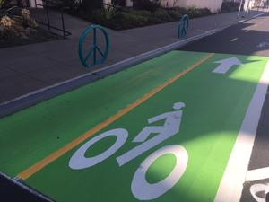 photo of bright green bike lanes
