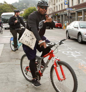 cyclist on bike to work day